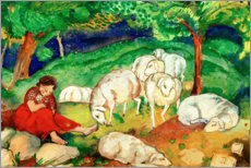 Gallery print  Shepherdess with sheep - Franz Marc