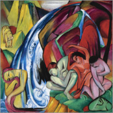 Premium poster  The waterfall (women under a waterfall) - Franz Marc