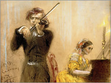 Wall sticker  Clara Schumann and Joseph Joachim playing music - Adolph von Menzel