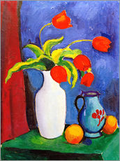Gallery print  Red tulips in white vase - August Macke
