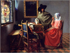 Gallery print  Lord and lady at the wine - Jan Vermeer