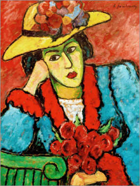 Premium poster  Lady with yellow straw hat - Alexej von Jawlensky