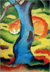 Wood print  Cat under a tree - Franz Marc