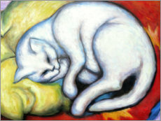 Wood print  The white cat - Franz Marc
