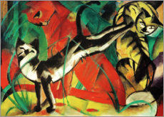 Premium poster  Three cats - Franz Marc