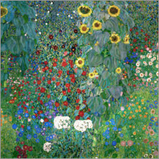 Wood print  Garden with Sunflowers - Gustav Klimt