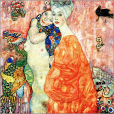 Wood print  The Girlfriends - Gustav Klimt
