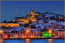 Wall sticker  Old town of Ibiza at night - HADYPHOTO