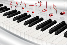 Wall sticker  Piano keyboard with notes - Kalle60
