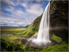 Gallery print  Sejalandsfoss Waterfall with Rainbow - Andreas Wonisch