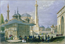Gallery print  Fountain and Square of St. Sophia, Istanbul - William Henry Bartlett