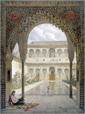 Wall sticker  The courtyard of Alberca in the Alhambra, Granada, 1853 - Léon Auguste Asselineau