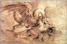 Wall sticker  Fight between a Dragon and a Lion - Leonardo da Vinci