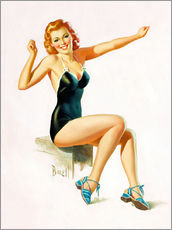 Wall sticker  Pin Up - Seated Redhead in Swimsuit - Al Buell