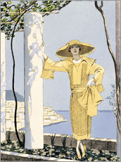 Wall sticker  Amalfi, illustration of a woman in yellow dress, 1922 - Georges Barbier