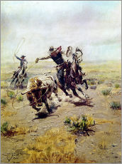 Wall sticker  Cowboy catches a bull - Charles Marion Russell
