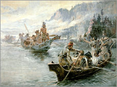 Wall sticker  Lewis & Clark on the lower Columbia River, 1905 - Charles Marion Russell