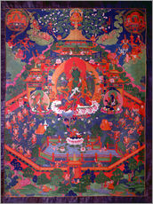 Gallery print  Thangka depicting Green Tara - Tibetan School