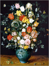 Acrylic print  Bouquet in a blue vase - Jan Brueghel d.Ä.