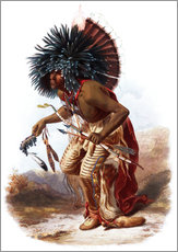 Gallery print  Indians with blue feathered headdress - Karl Bodmer