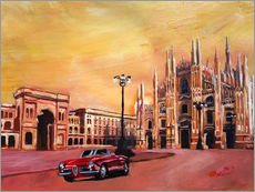 Gallery print  Milan Cathedral with Oldtimer Convertible Alfa Romeo - M. Bleichner
