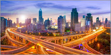 Gallery print  Shanghai skyline and traffic at night - Jan Christopher Becke