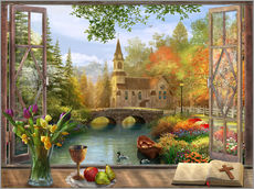 Wall sticker  Autumn Church Frame - Dominic Davison