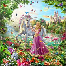 Wall sticker  Princess and the unicorn - Adrian Chesterman