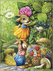 Gallery print  Rabbits picking flowers - Petar Meseldzija