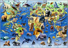Wall sticker  One Hundred Endangered Species - Adrian Chesterman