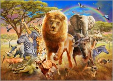 Wall sticker  African Stampede - Adrian Chesterman