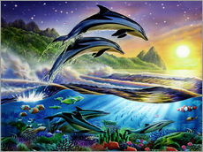 Wall sticker  Atlantic dolphins - Adrian Chesterman