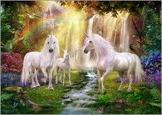Wall sticker  Waterfall Glade Unicorns - Jan Patrik Krasny