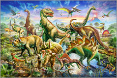 Gallery print  Assembly of dinosaurs - Adrian Chesterman