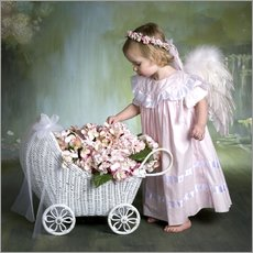 Wall sticker  Angel with flower basket - Eva Freyss