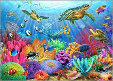 Wall sticker  Turtle coral reef - Adrian Chesterman