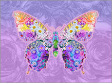 Wall sticker  Purple Floral Buttefly - Alixandra Mullins