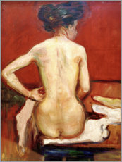 Premium poster  Back View of Sitting Female Nude with Red Background - Edvard Munch