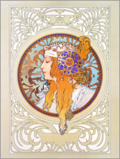 Wall sticker  Medallion with blond woman - Alfons Mucha