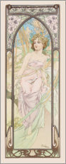 Wood print  Eveil du matin (The Morning) - Alfons Mucha