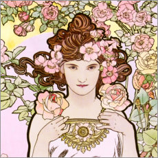 Gallery print  The Rose (detail) - Alfons Mucha