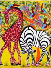 Wall sticker  Zebra with Giraffe in the bush - Omary