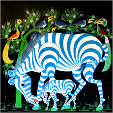 Gallery print  Blue Zebras at night - Rafiki