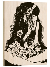Wood print  Among the flowers - Blomster
