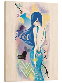 Wood print  aquarius - Saeko Illustration