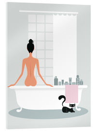 Acrylic print  bathing kitty - Ping Lee