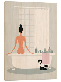 Wood print  bathing kitty - Ping Lee