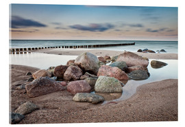 Acrylic glass  Stones and groynes on shore of the Baltic Sea. - Rico Ködder
