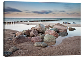 Canvas print  Stones and groynes on shore of the Baltic Sea. - Rico Ködder