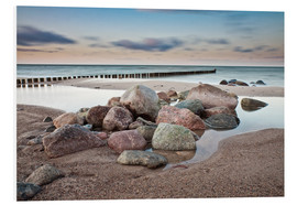 Foam board print  Stones and groynes on shore of the Baltic Sea. - Rico Ködder